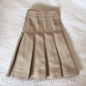 Tan Pleated Skater Skirt